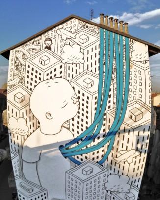 fresque du street artiste milo
